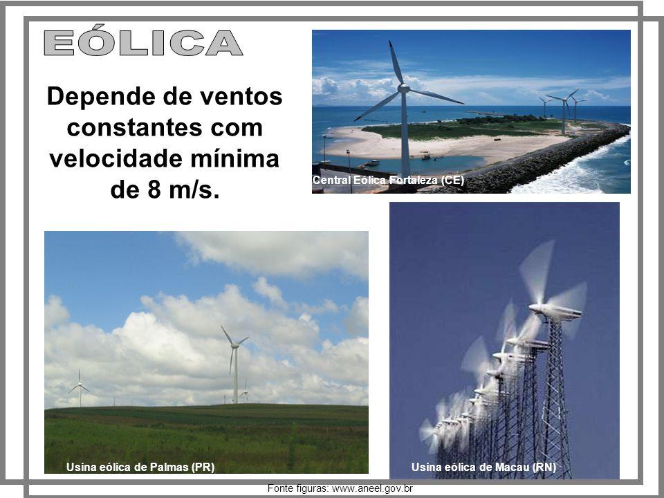 Usina eólica de Macau (RN) Usina eólica de Palmas (PR) Central Eólica Fortaleza (CE) Depende de ventos constantes com velocidade mínima de 8 m/s.