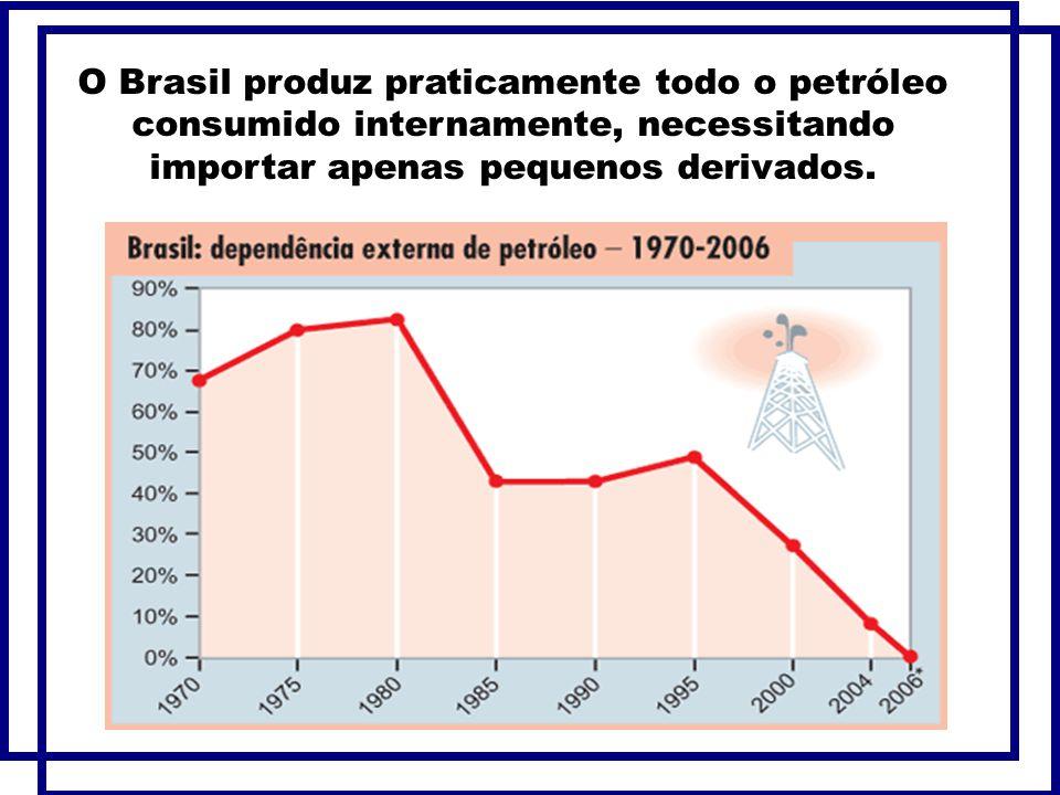 O Brasil produz praticamente todo o petróleo consumido internamente, necessitando importar apenas pequenos derivados.