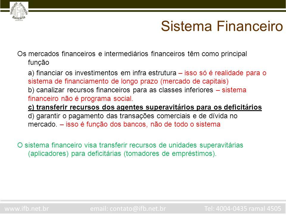 Sistema Financeiro Os mercados financeiros e intermediários financeiros têm como principal função a) financiar os investimentos em infra estrutura – i