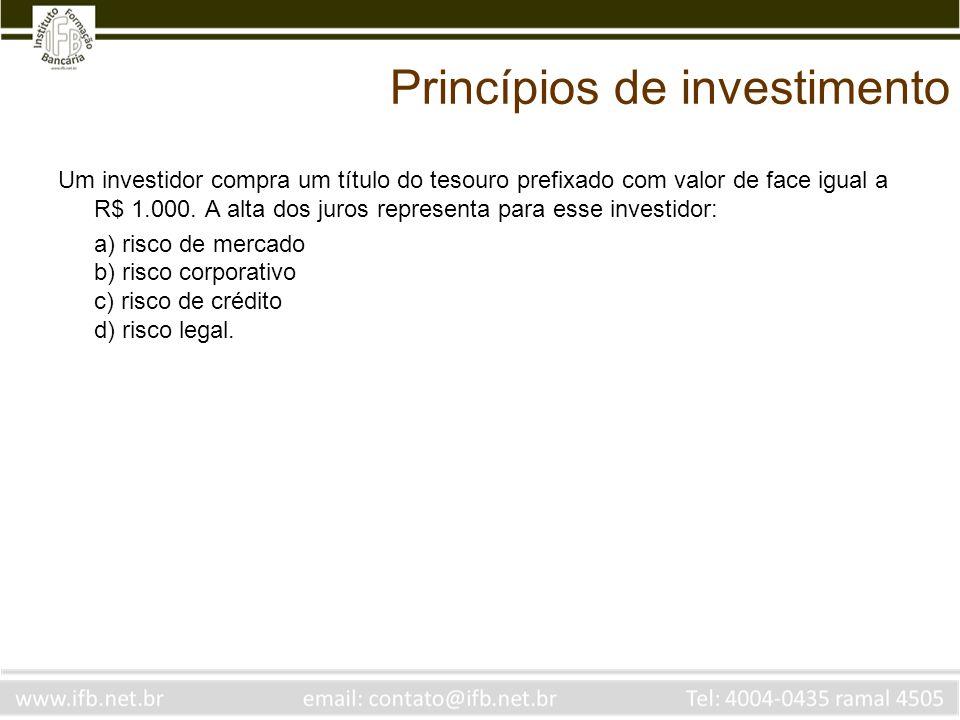 Princípios de investimento Um investidor compra um título do tesouro prefixado com valor de face igual a R$ 1.000. A alta dos juros representa para es