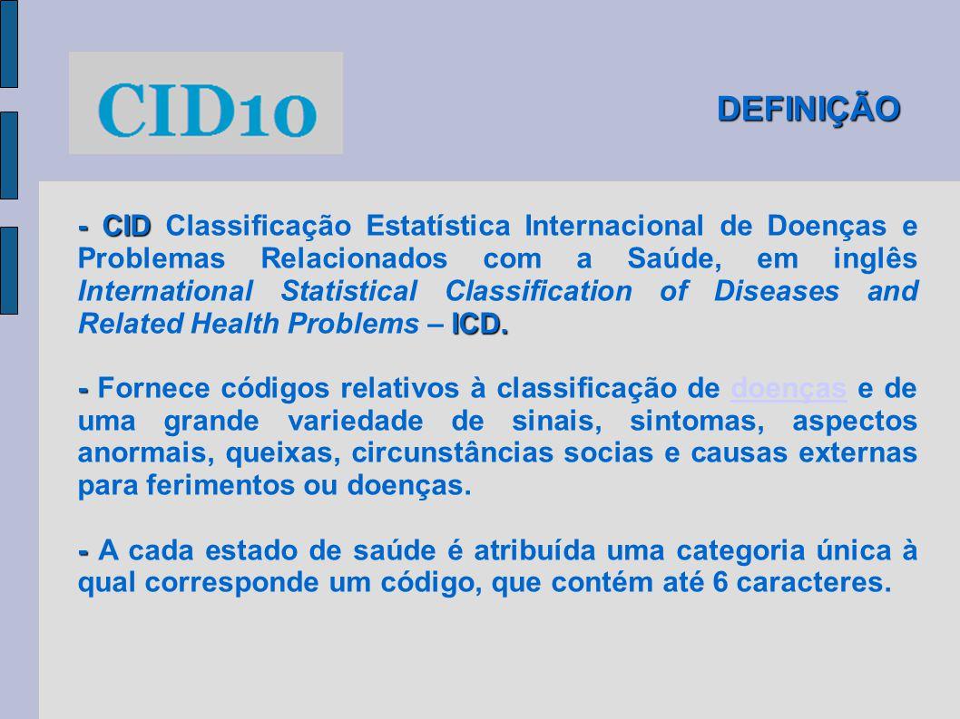 DEFINIÇÃO - CID ICD. - CID Classificação Estatística Internacional de Doenças e Problemas Relacionados com a Saúde, em inglês International Statistica