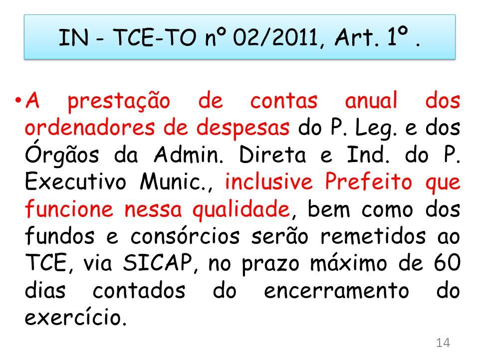 IN - TCE-TO nº 02/2011, Art. 1º. A prestação de contas anual dos ordenadores de despesas do P. Leg. e dos Órgãos da Admin. Direta e Ind. do P. Executi