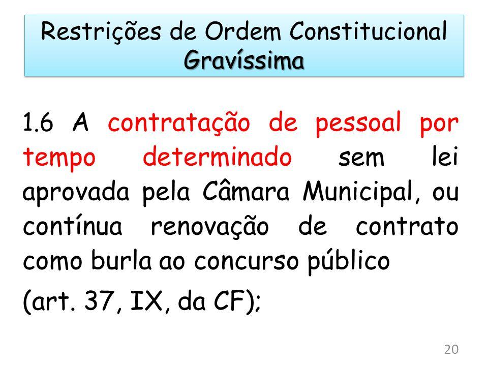 1.6 A contratação de pessoal por tempo determinado sem lei aprovada pela Câmara Municipal, ou contínua renovação de contrato como burla ao concurso pú
