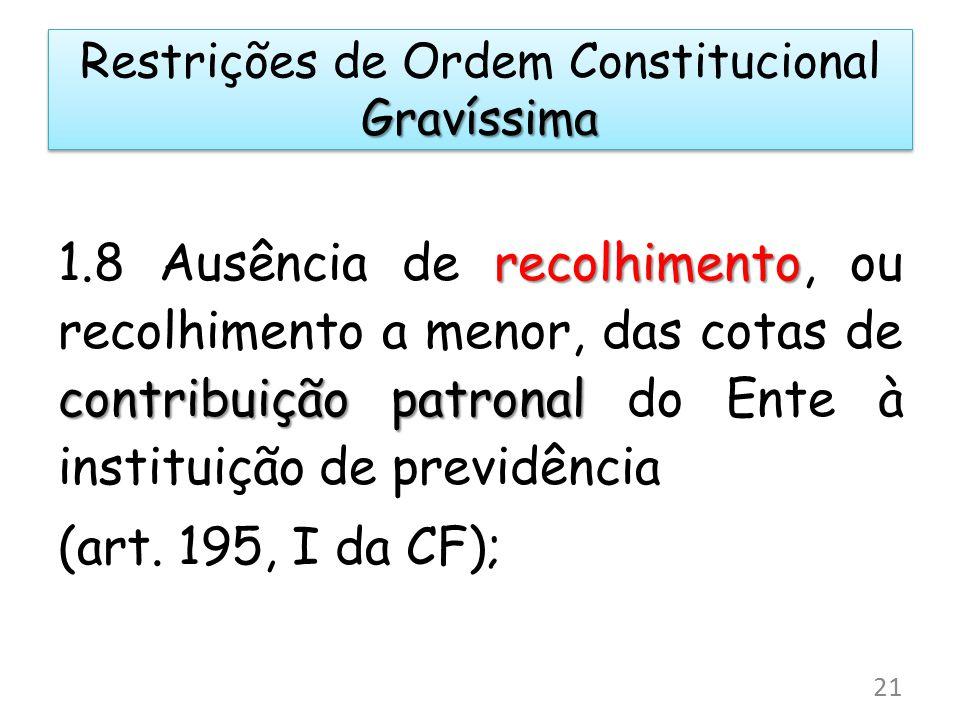 recolhimento contribuição patronal 1.8 Ausência de recolhimento, ou recolhimento a menor, das cotas de contribuição patronal do Ente à instituição de previdência (art.