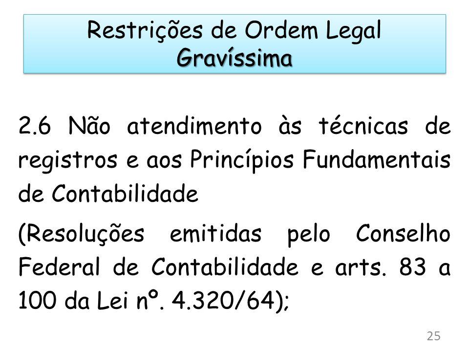 2.6 Não atendimento às técnicas de registros e aos Princípios Fundamentais de Contabilidade (Resoluções emitidas pelo Conselho Federal de Contabilidade e arts.