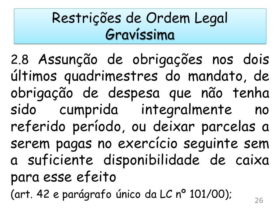 2.8 Assunção de obrigações nos dois últimos quadrimestres do mandato, de obrigação de despesa que não tenha sido cumprida integralmente no referido pe