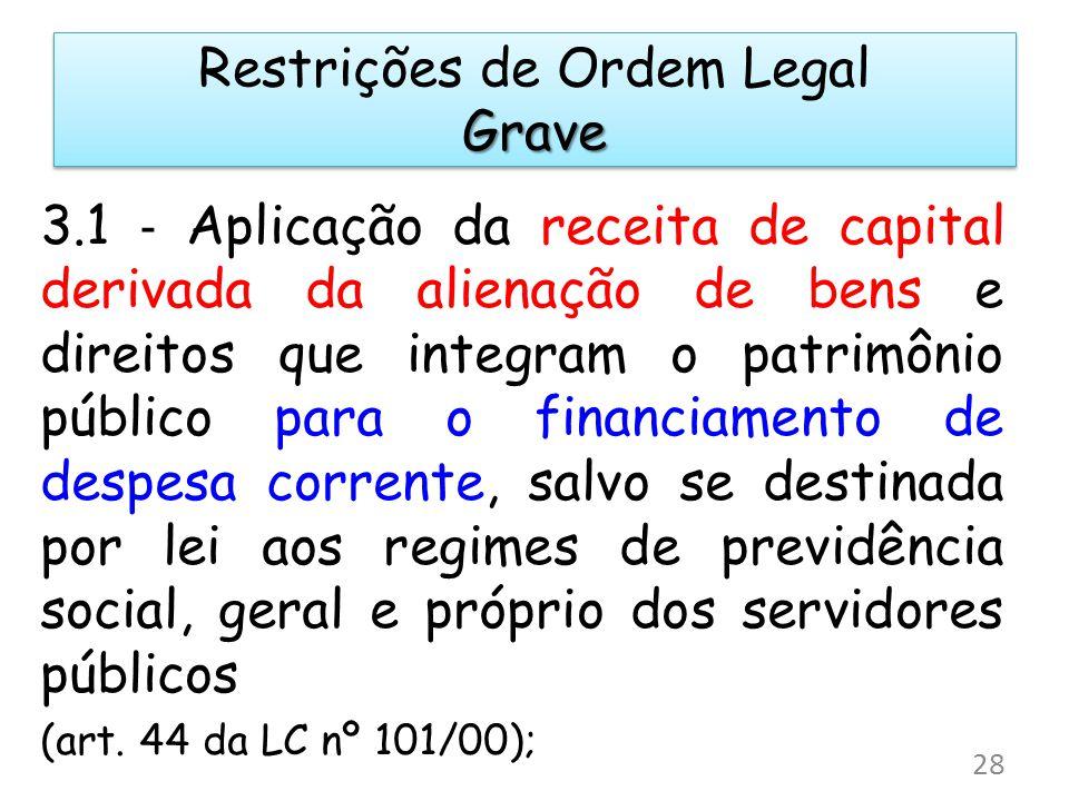 Grave Restrições de Ordem Legal Grave 3.1 Aplicação da receita de capital derivada da alienação de bens e direitos que integram o patrimônio público p