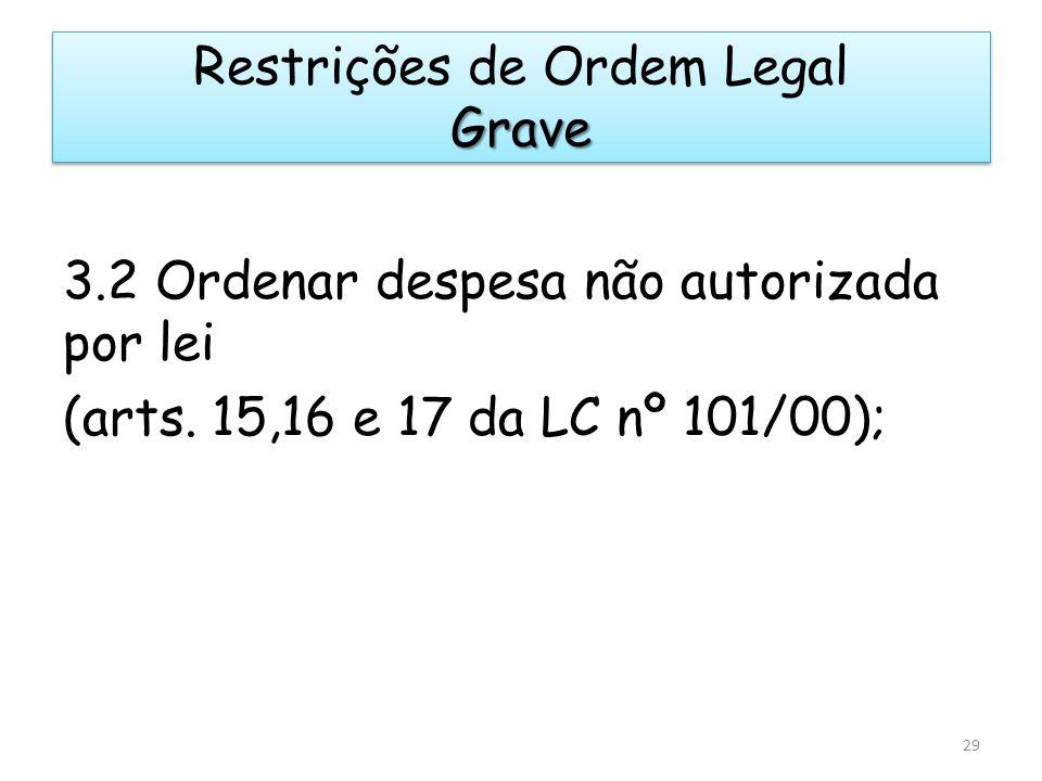 3.2 Ordenar despesa não autorizada por lei (arts. 15,16 e 17 da LC nº 101/00); 29 Grave Restrições de Ordem Legal Grave