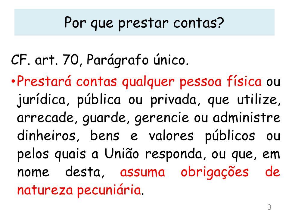 Por que prestar contas? CF. art. 70, Parágrafo único. Prestará contas qualquer pessoa física ou jurídica, pública ou privada, que utilize, arrecade, g