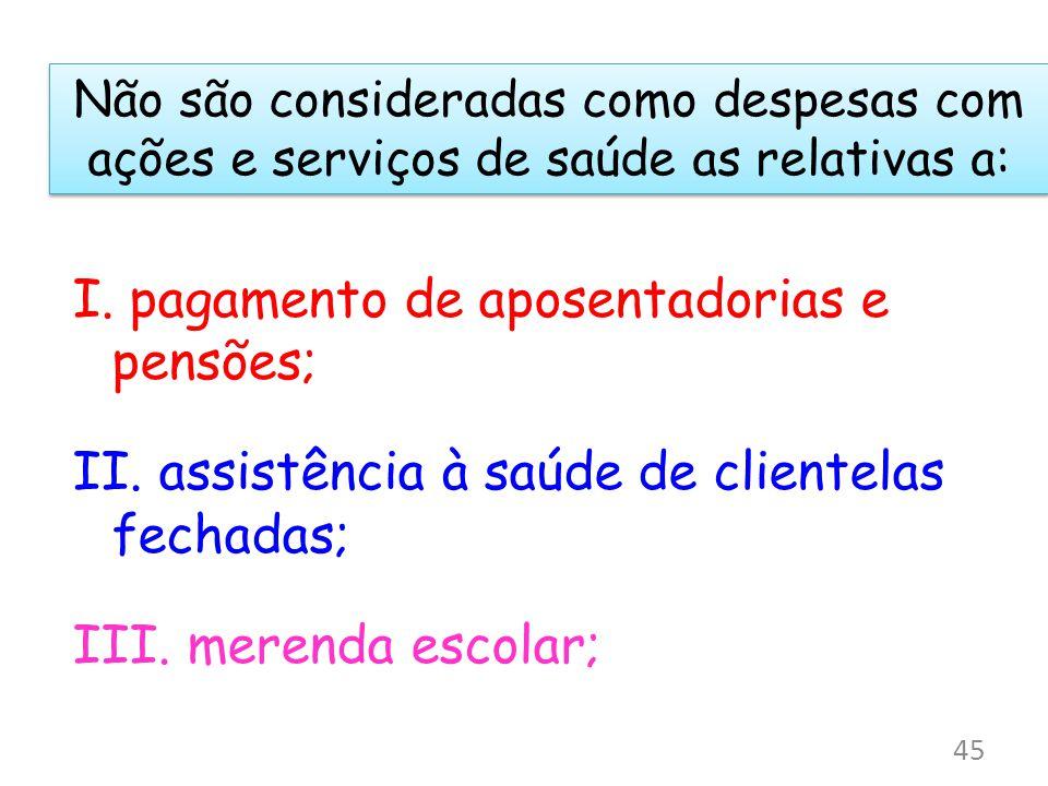 Não são consideradas como despesas com ações e serviços de saúde as relativas a: I. pagamento de aposentadorias e pensões; II. assistência à saúde de