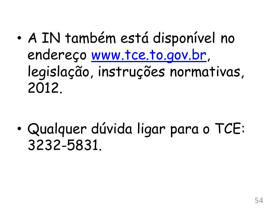 A IN também está disponível no endereço www.tce.to.gov.br, legislação, instruções normativas, 2012.www.tce.to.gov.br Qualquer dúvida ligar para o TCE: