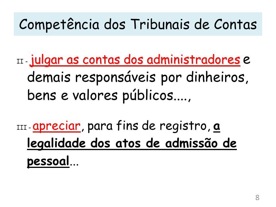 julgar as contas dos administradores II - julgar as contas dos administradores e demais responsáveis por dinheiros, bens e valores públicos...., III -