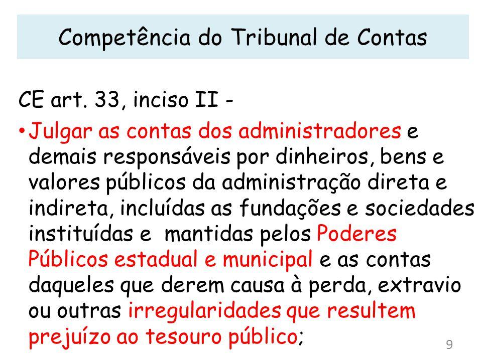 Competência do Tribunal de Contas CE art. 33, inciso II - Julgar as contas dos administradores e demais responsáveis por dinheiros, bens e valores púb