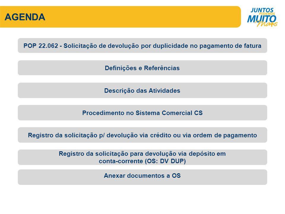 AGENDA Definições e Referências Descrição das Atividades POP 22.062 - Solicitação de devolução por duplicidade no pagamento de fatura Procedimento no