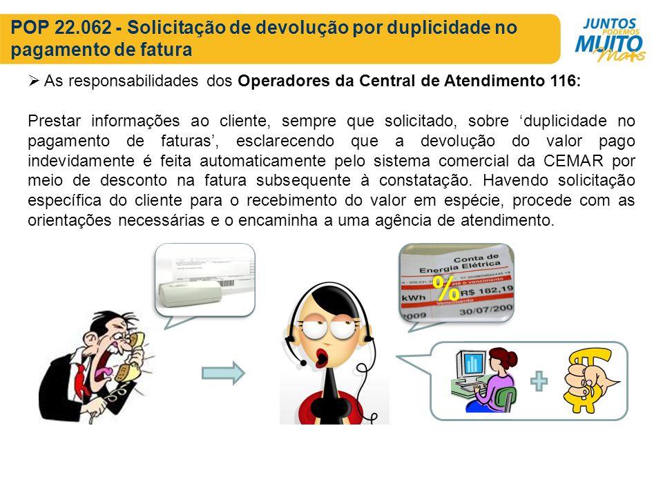 POP 22.062 - Solicitação de devolução por duplicidade no pagamento de fatura As responsabilidades dos Operadores da Central de Atendimento 116: Presta