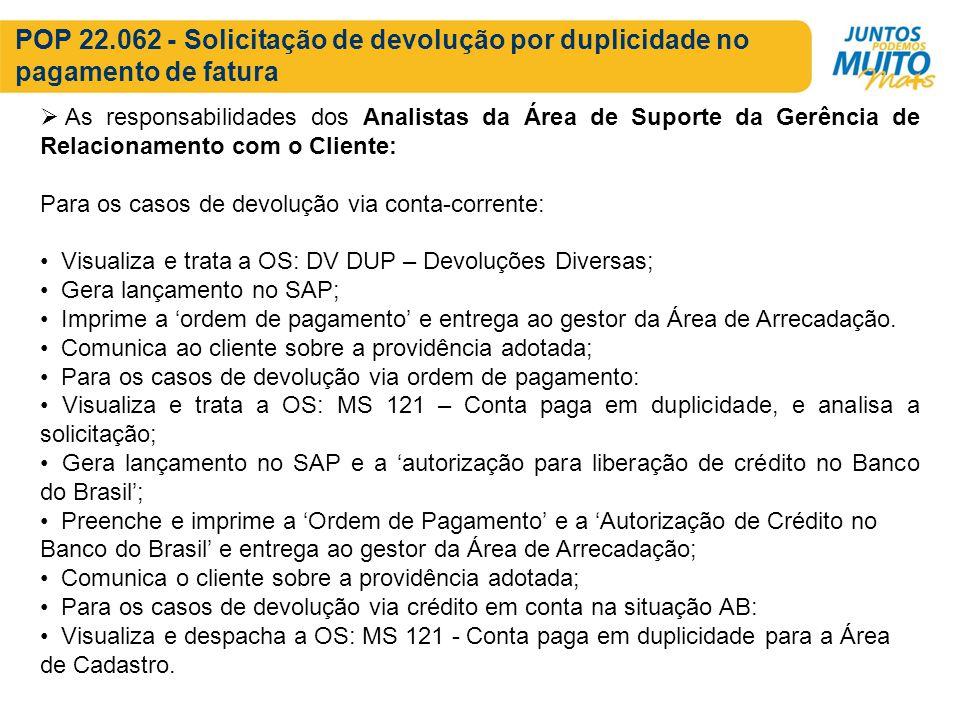 POP 22.062 - Solicitação de devolução por duplicidade no pagamento de fatura As responsabilidades dos Analistas da Área de Suporte da Gerência de Rela