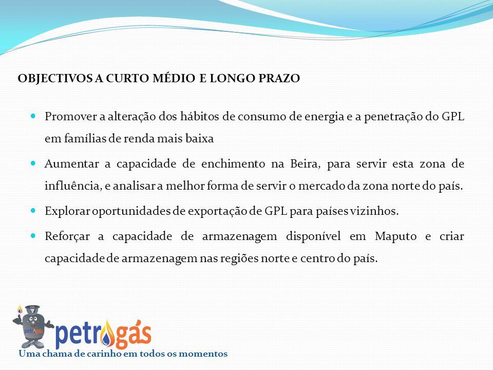 Promover a alteração dos hábitos de consumo de energia e a penetração do GPL em famílias de renda mais baixa Aumentar a capacidade de enchimento na Be