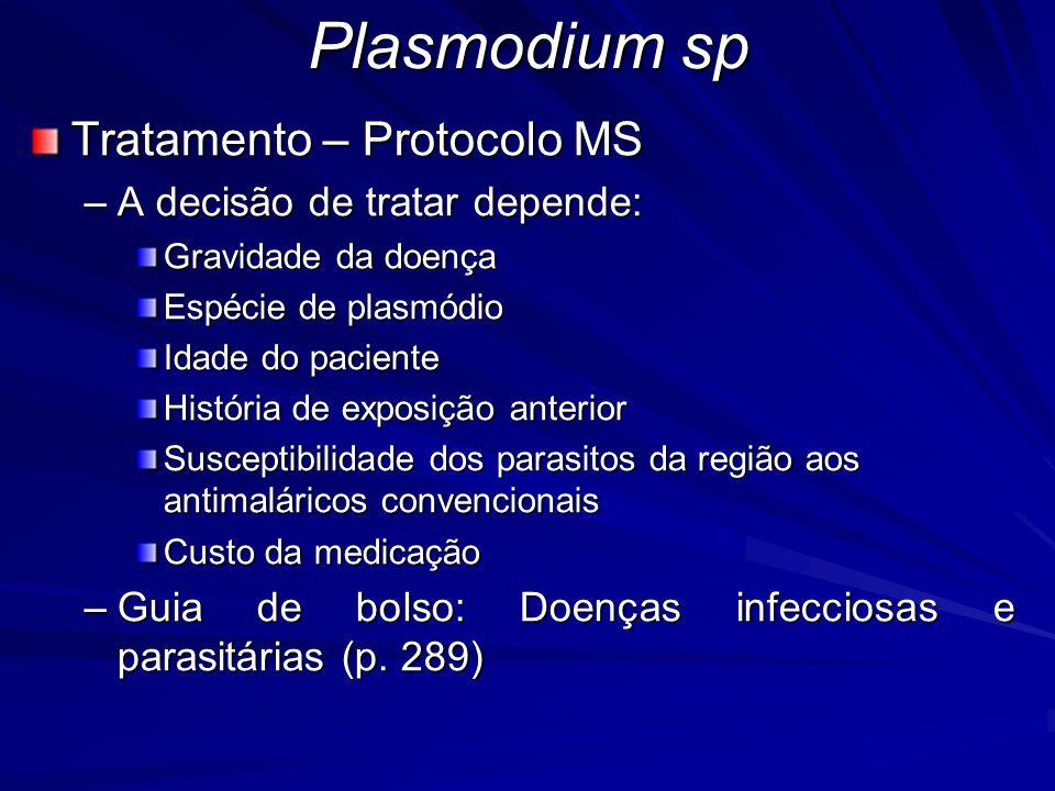 Plasmodium sp Tratamento – Protocolo MS –A decisão de tratar depende: Gravidade da doença Espécie de plasmódio Idade do paciente História de exposição
