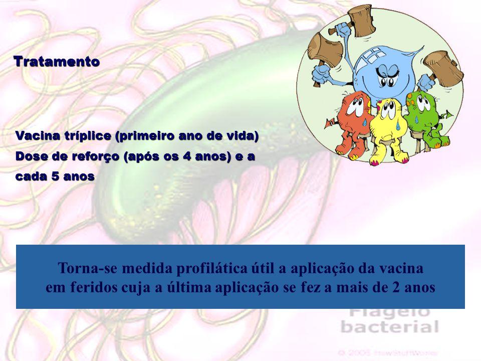 Tratamento Vacina tríplice (primeiro ano de vida) Dose de reforço (após os 4 anos) e a cada 5 anos Torna-se medida profilática útil a aplicação da vac