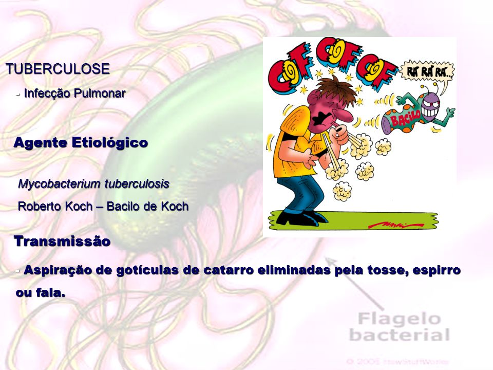 TUBERCULOSE Agente Etiológico Mycobacterium tuberculosis Roberto Koch – Bacilo de Koch Transmissão - Aspiração de gotículas de catarro eliminadas pela