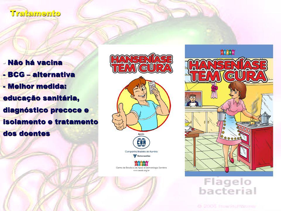 Tratamento - Não há vacina - BCG – alternativa - Melhor medida: educação sanitária, diagnóstico precoce e isolamento e tratamento dos doentes