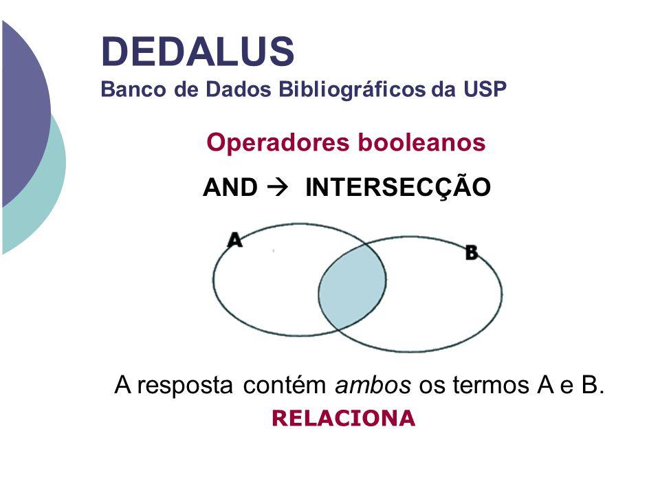 DEDALUS Banco de Dados Bibliográficos da USP Operadores booleanos AND INTERSECÇÃO A resposta contém ambos os termos A e B. RELACIONA