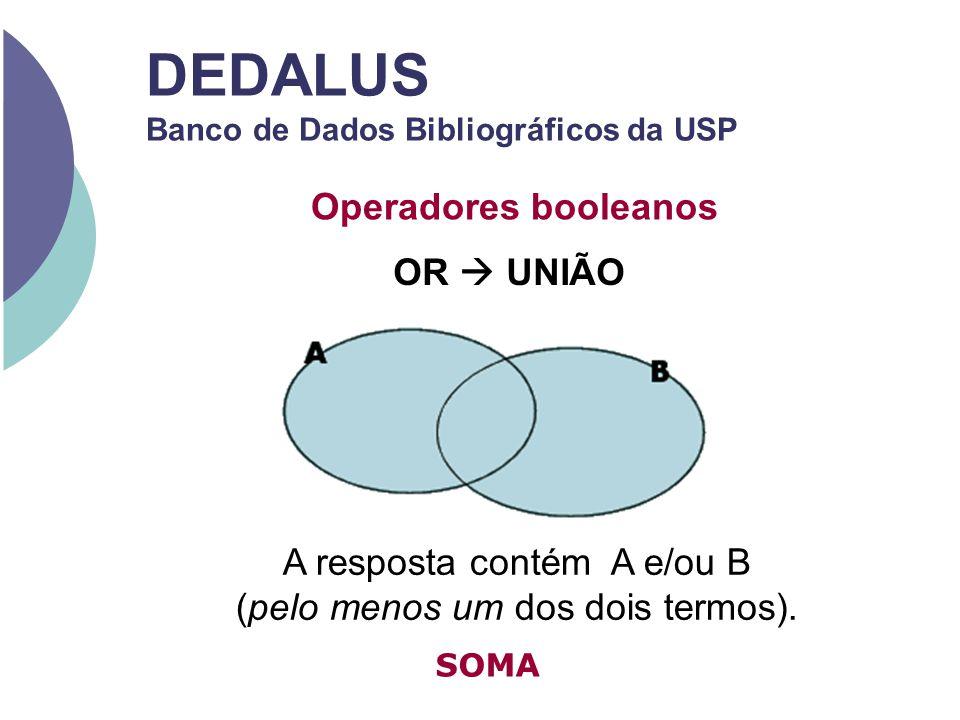 DEDALUS Banco de Dados Bibliográficos da USP Operadores booleanos OR UNIÃO A resposta contém A e/ou B (pelo menos um dos dois termos). SOMA