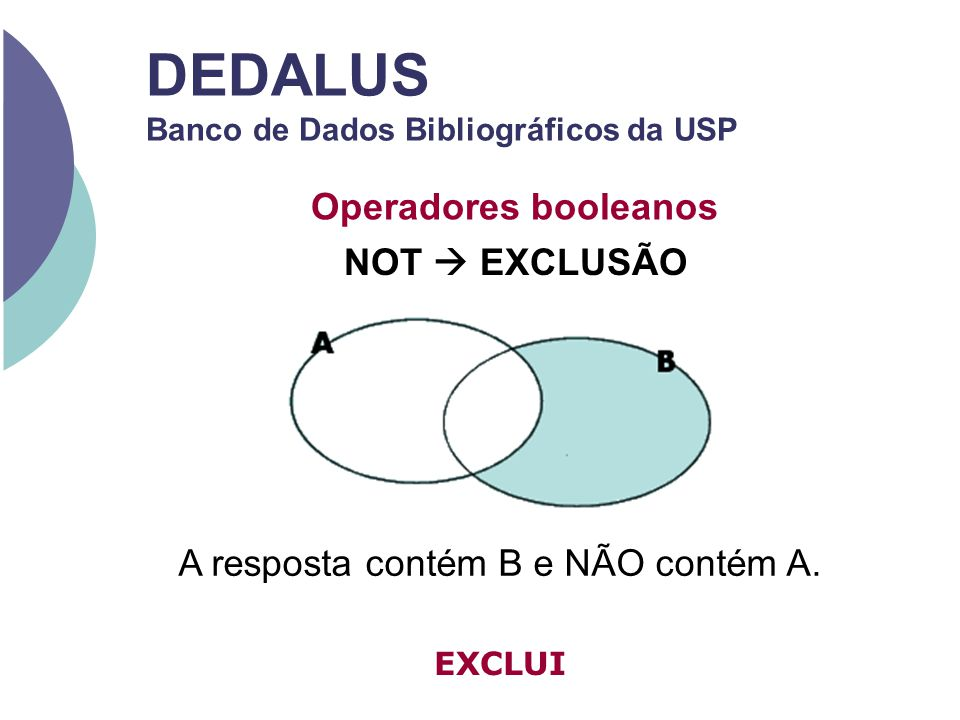 DEDALUS Banco de Dados Bibliográficos da USP Operadores booleanos NOT EXCLUSÃO A resposta contém B e NÃO contém A. EXCLUI