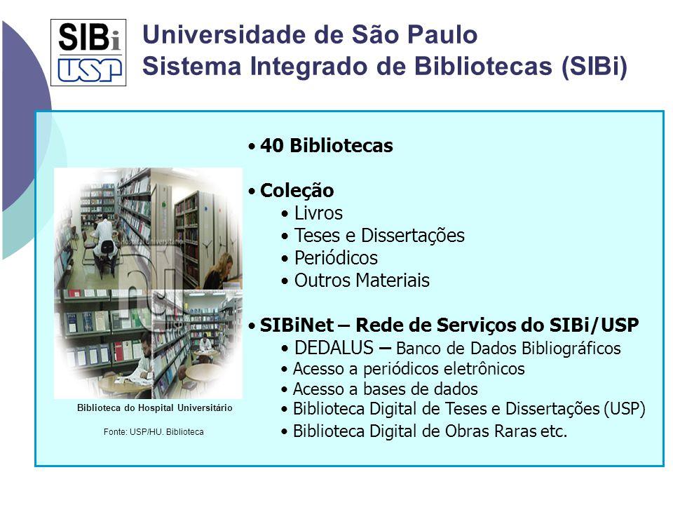 40 Bibliotecas Coleção Livros Teses e Dissertações Periódicos Outros Materiais SIBiNet – Rede de Serviços do SIBi/USP DEDALUS – Banco de Dados Bibliog