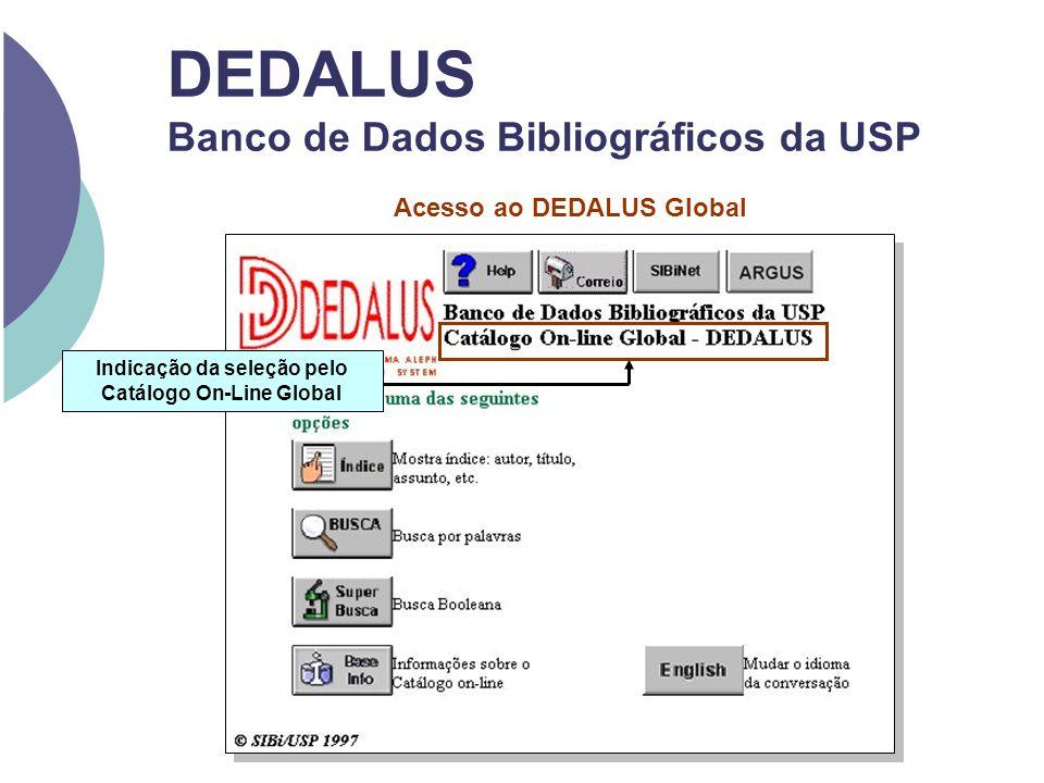DEDALUS Banco de Dados Bibliográficos da USP Acesso ao DEDALUS Global Indicação da seleção pelo Catálogo On-Line Global