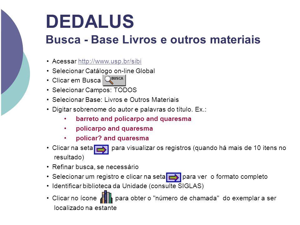 DEDALUS Busca - Base Livros e outros materiais Acessar http://www.usp.br/sibihttp://www.usp.br/sibi Selecionar Catálogo on-line Global Clicar em Busca