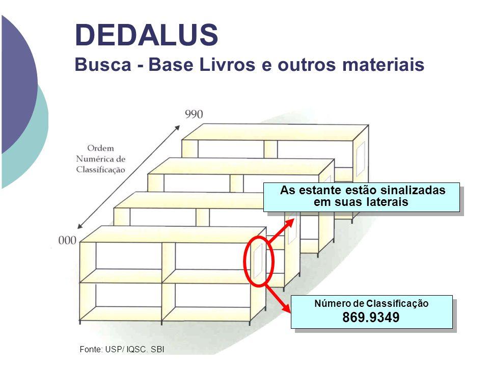 DEDALUS Busca - Base Livros e outros materiais Número de Classificação 869.9349 Fonte: USP/ IQSC. SBI As estante estão sinalizadas em suas laterais