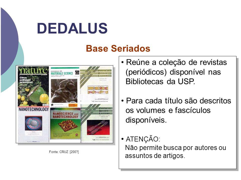 DEDALUS Reúne a coleção de revistas (periódicos) disponível nas Bibliotecas da USP. Para cada título são descritos os volumes e fascículos disponíveis