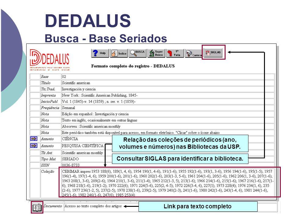 DEDALUS Busca - Base Seriados Relação das coleções de periódicos (ano, volumes e números) nas Bibliotecas da USP. Link para texto completo Consultar S