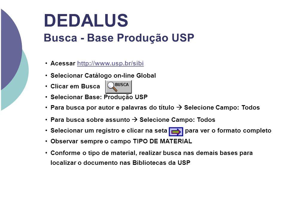 DEDALUS Busca - Base Produção USP Acessar http://www.usp.br/sibihttp://www.usp.br/sibi Selecionar Catálogo on-line Global Clicar em Busca Selecionar B