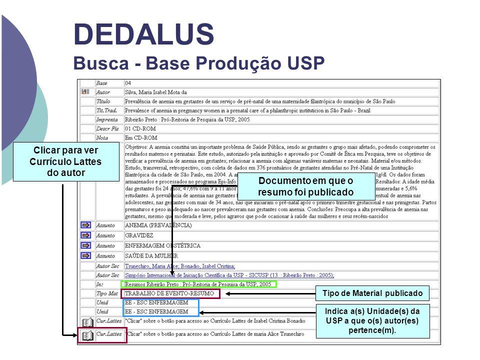 DEDALUS Busca - Base Produção USP Documento em que o resumo foi publicado Indica a(s) Unidade(s) da USP a que o(s) autor(es) pertence(m). Tipo de Mate