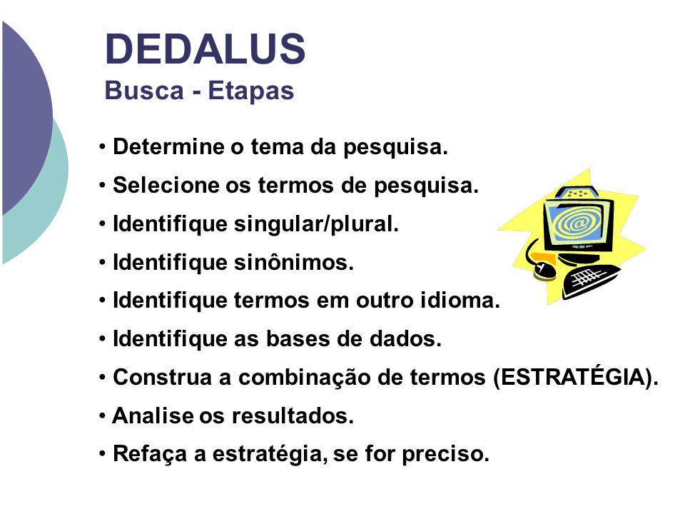 DEDALUS Busca - Etapas Determine o tema da pesquisa. Selecione os termos de pesquisa. Identifique singular/plural. Identifique sinônimos. Identifique