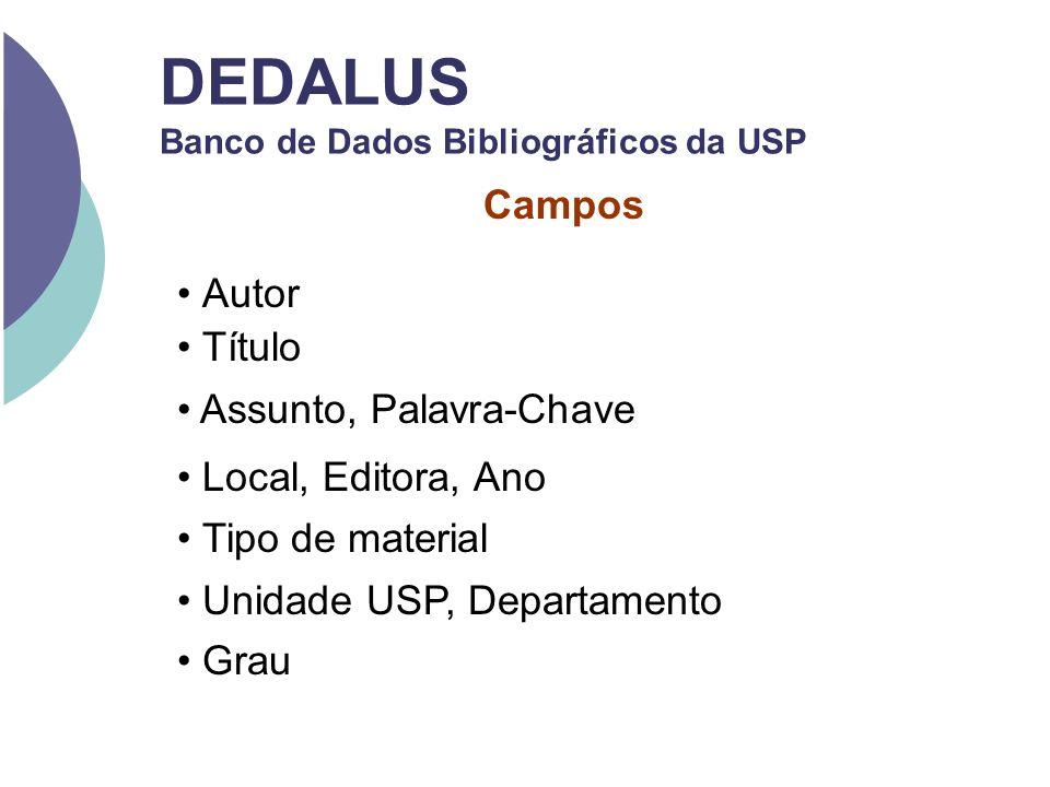 DEDALUS Banco de Dados Bibliográficos da USP Campos Autor Título Assunto, Palavra-Chave Local, Editora, Ano Tipo de material Unidade USP, Departamento
