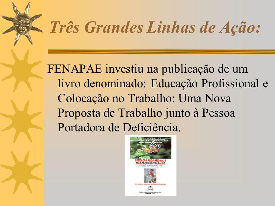 Três Grandes Linhas de Ação: FENAPAE investiu na publicação de um livro denominado: Educação Profissional e Colocação no Trabalho: Uma Nova Proposta d