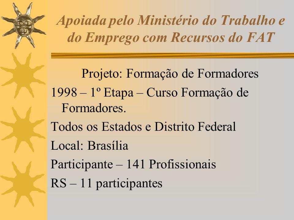 Apoiada pelo Ministério do Trabalho e do Emprego com Recursos do FAT Projeto: Formação de Formadores 1998 – 1º Etapa – Curso Formação de Formadores. T