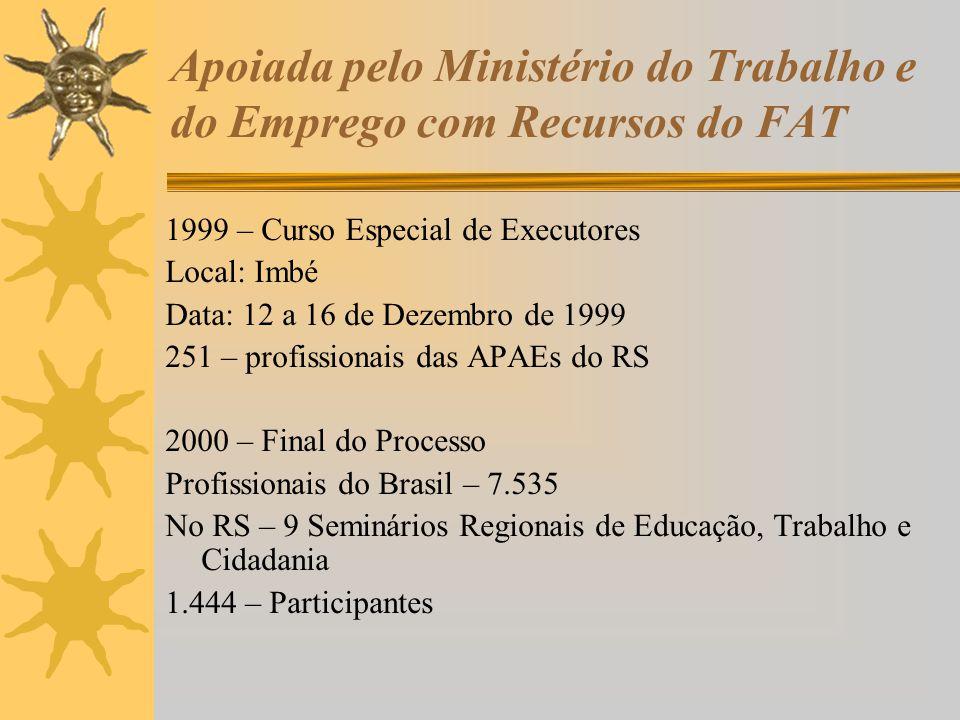 Apoiada pelo Ministério do Trabalho e do Emprego com Recursos do FAT 1999 – Curso Especial de Executores Local: Imbé Data: 12 a 16 de Dezembro de 1999