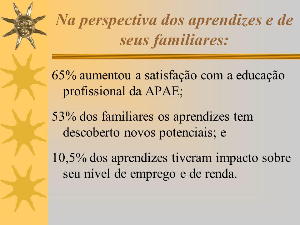 Na perspectiva dos aprendizes e de seus familiares: 65% aumentou a satisfação com a educação profissional da APAE; 53% dos familiares os aprendizes te