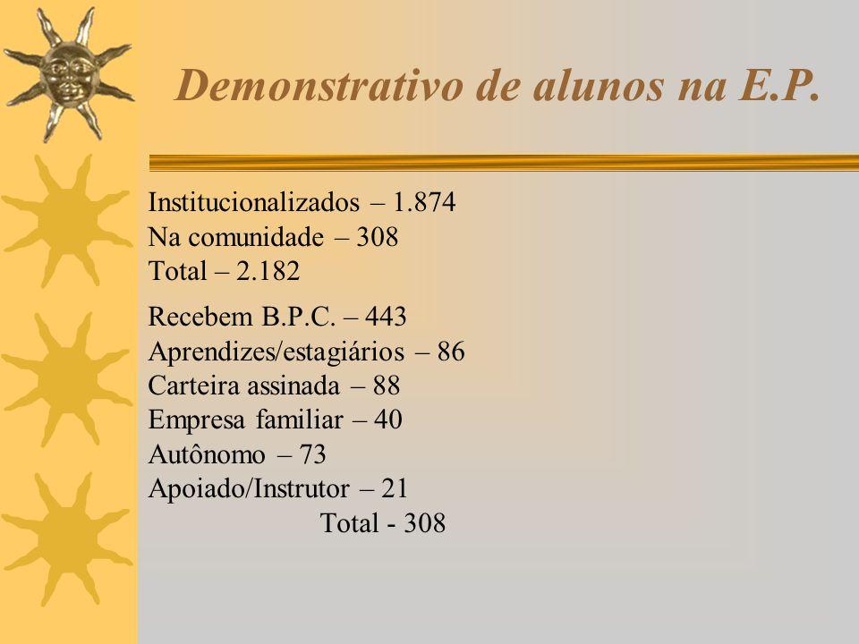 Demonstrativo de alunos na E.P. Institucionalizados – 1.874 Na comunidade – 308 Total – 2.182 Recebem B.P.C. – 443 Aprendizes/estagiários – 86 Carteir