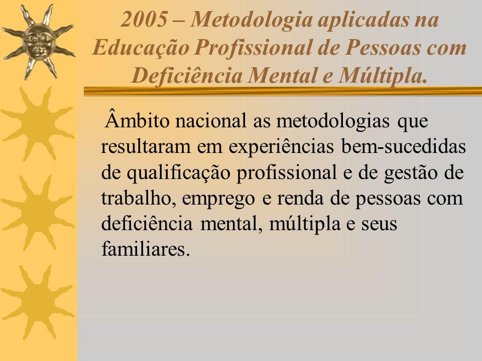 2005 – Metodologia aplicadas na Educação Profissional de Pessoas com Deficiência Mental e Múltipla. Âmbito nacional as metodologias que resultaram em