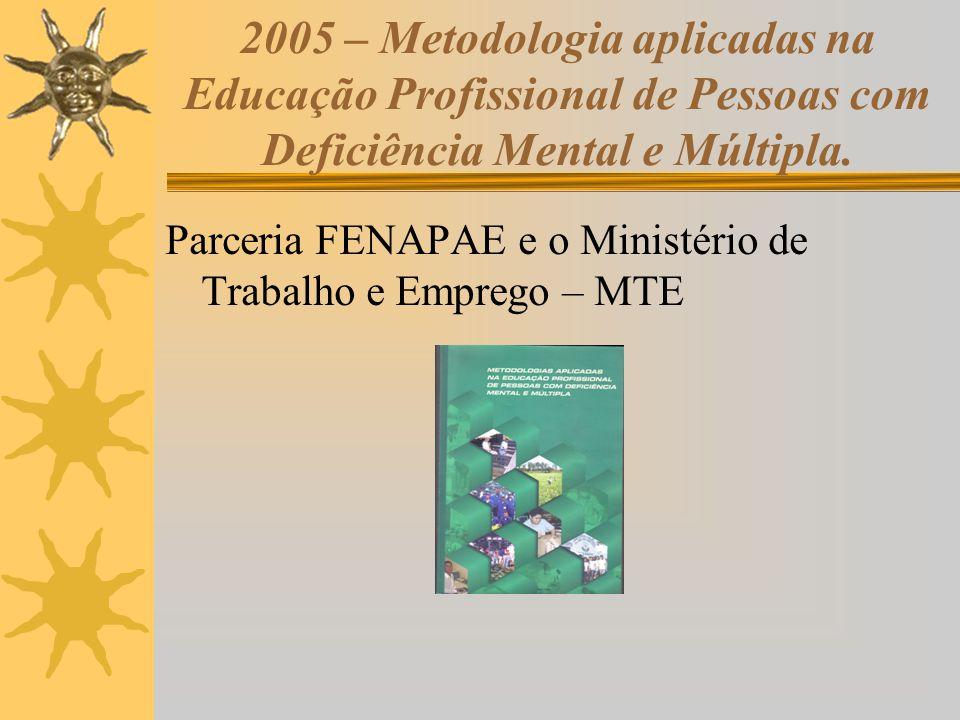 2005 – Metodologia aplicadas na Educação Profissional de Pessoas com Deficiência Mental e Múltipla. Parceria FENAPAE e o Ministério de Trabalho e Empr