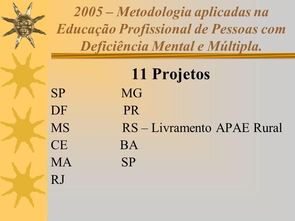 2005 – Metodologia aplicadas na Educação Profissional de Pessoas com Deficiência Mental e Múltipla. 11 Projetos SP MG DF PR MS RS – Livramento APAE Ru