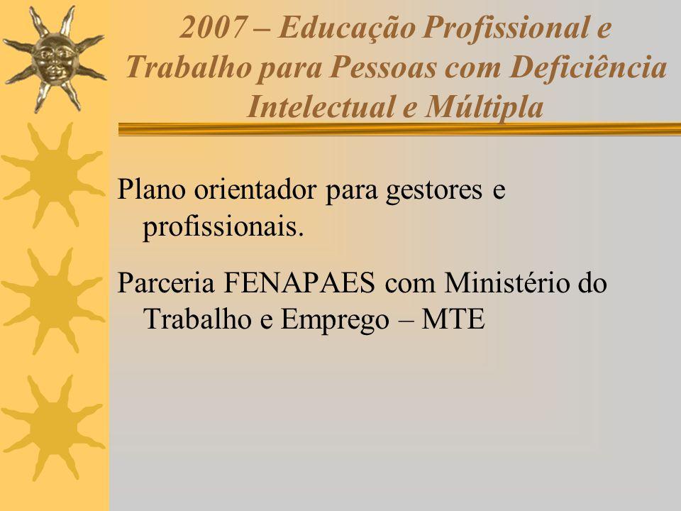 2007 – Educação Profissional e Trabalho para Pessoas com Deficiência Intelectual e Múltipla Plano orientador para gestores e profissionais. Parceria F