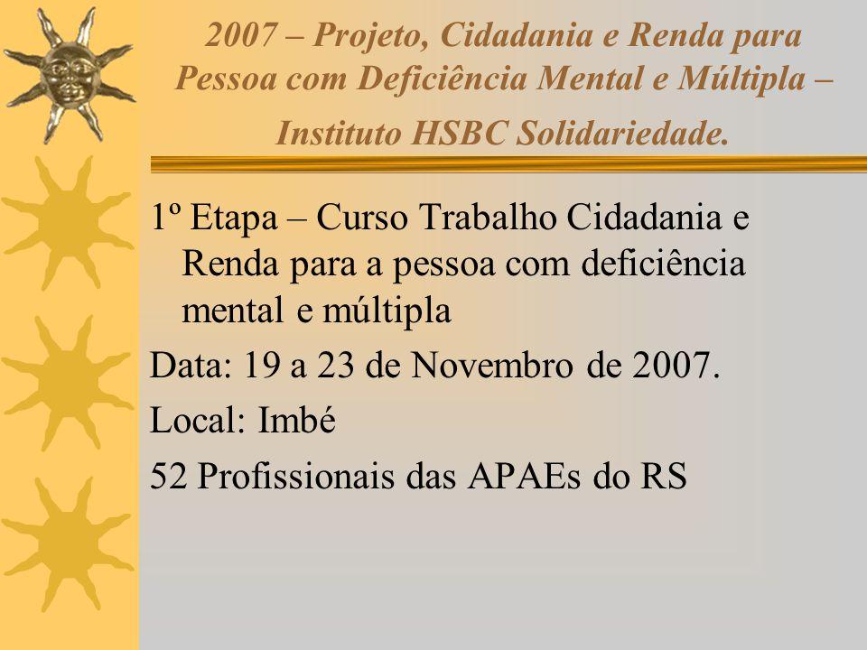 2007 – Projeto, Cidadania e Renda para Pessoa com Deficiência Mental e Múltipla – Instituto HSBC Solidariedade. 1º Etapa – Curso Trabalho Cidadania e
