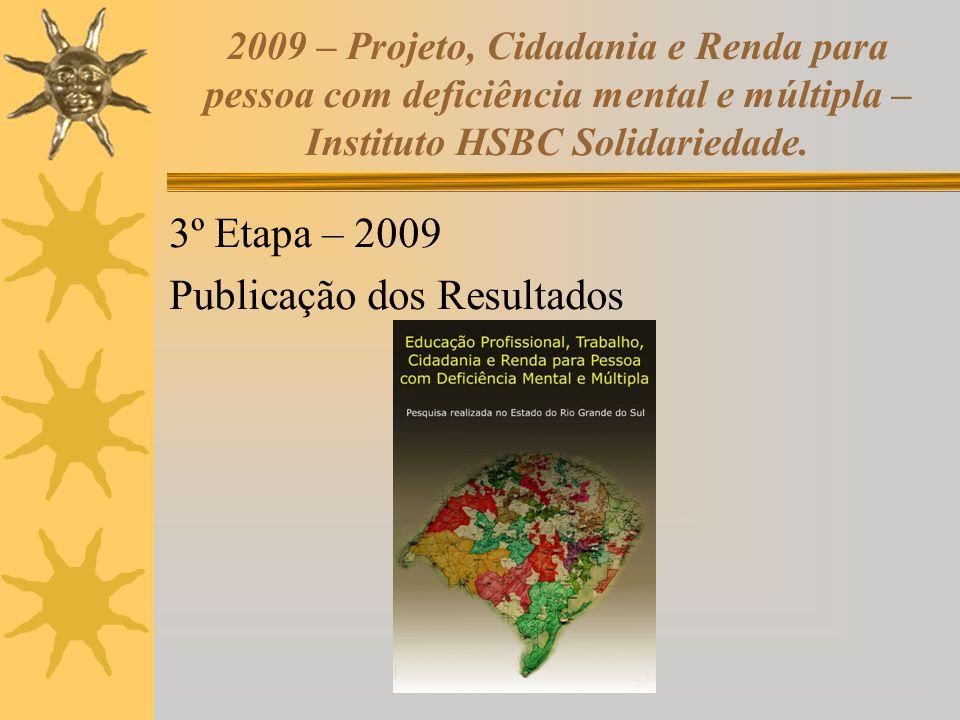 2009 – Projeto, Cidadania e Renda para pessoa com deficiência mental e múltipla – Instituto HSBC Solidariedade. 3º Etapa – 2009 Publicação dos Resulta