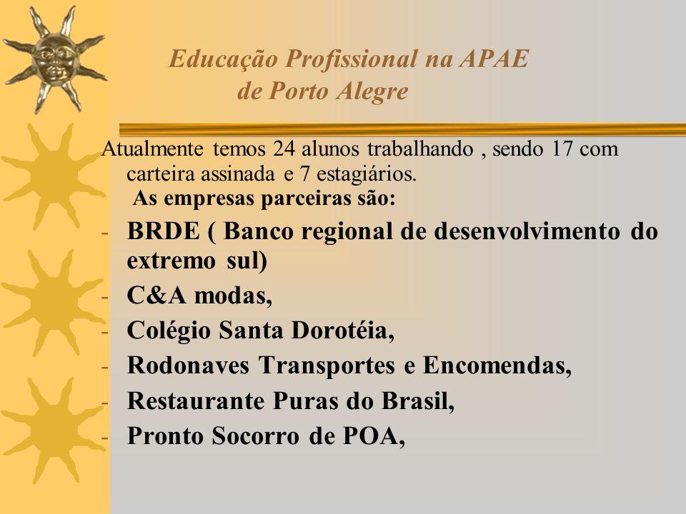 Educação Profissional na APAE de Porto Alegre Atualmente temos 24 alunos trabalhando, sendo 17 com carteira assinada e 7 estagiários. As empresas parc